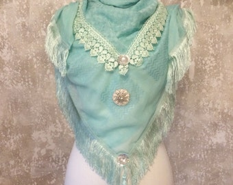 Scarf turquoise with fringe trim, fringe, Bohemian hippie, Sequin, beaded applications, echtsilberner spring trailer, Talisman
