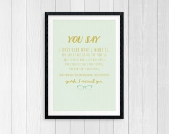 "8x10 ""Stay"" Lyrics Typography Print, green- Instant Download"