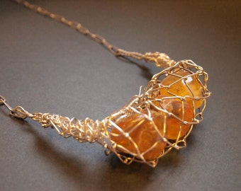 BESPOKE designed silver net with AMBER NECKLACE