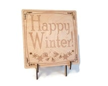 Wood Laser Cut Etched Engraved Happy Winter Art Plaque - Seasonal Holiday Home Decor Christmas Decoration - Optional Display Stand Available