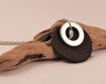 Leather Pendant with leaf charm