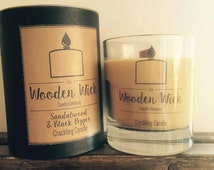 Sandalwood & Black Pepper Handmade Wooden Wick Crackling Candle 200ml | Soy Blend | Presentation Gift Box | Luxury Scented