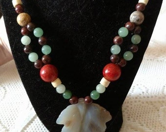 Multi colored genuine bead necklace.