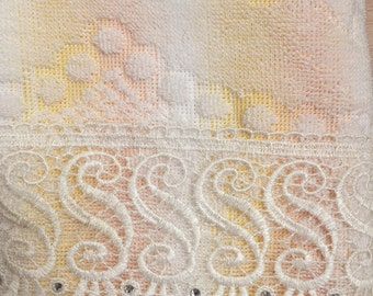 Swarovski Lace Bath Towel in a Lovely Candy Color