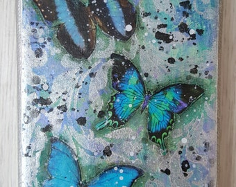 Butterflies in blue and silver mixed media canvas 10cm x 15cm