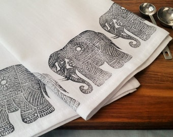 "Black Elephants Block Printed Flour Sack Kitchen Towel 28"" x 32"""
