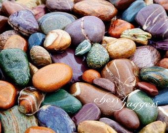 River Rocks, gems, nature photography, streams, rainbow rocks, fine art prints, Canadian Art