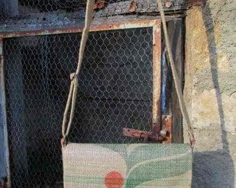 Burlap bag of recycled coffee bag