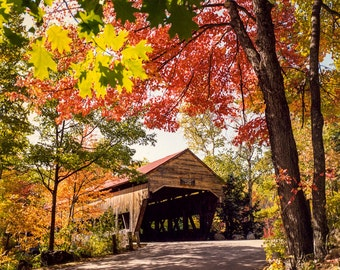 Fall Colors, Covered Bridge Photo, New England, Autumn Colors, New England Fall Foliage, Red Gold Trees ,New Hampshire Fall, Autumn Decor
