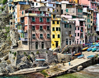 Cinque Terre, Riomaggiore Photo, Colorful Houses, Waterfront, Boats, Painterly Look, Wall Decor
