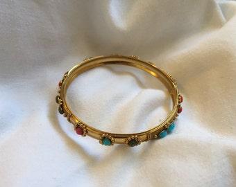 Vintage Golden Bracelet with Jewel Accents