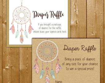 Dreamcatcher Diaper Raffle, Diaper Raffle Ticket Dream Catcher Baby Shower Diapers Diaper Raffle, Instant Download