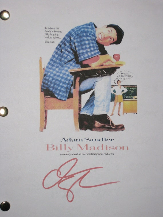 Billy Madison Signed Movie Film Screenplay Script Autograph Adam Sandler signature funny film