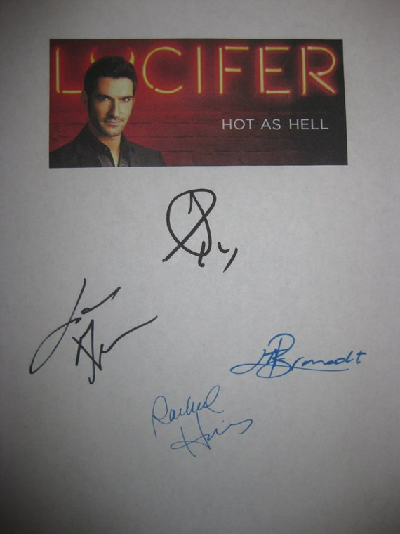 Lucifer Signed TV Script Screenplay x4 Autographs Tom Ellis Lauren German Lesley-Ann Brandt Rachael Harris signatures new tv show