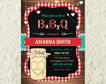 BABY Q Invitation, BabyQ Baby Shower Invitation, Backyard BBQ Invite, Co-Ed Baby Shower Invite, Digital File, Printable, Rustic Baby Shower