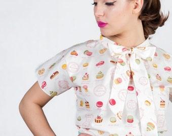 Sweet blouse, macarons blouse, cupcake blouse, retro blouse, neck-tie blouse, loose-fitting blouse