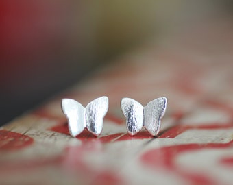 Sweet silver brushed metal butterfly stud earrings, Butterfly earrings, butterfly studs, inspired by nature,
