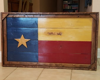 Handmade Wooden Flag with Frame