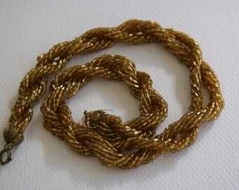Vintage Golden Beaded Twist Choker Necklace - ON SALE!