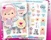 23 Cute Time For Tea Planner Stickers, Filofax, Erin Condren, Happy Planner,  Kawaii, Cute Sticker, UK