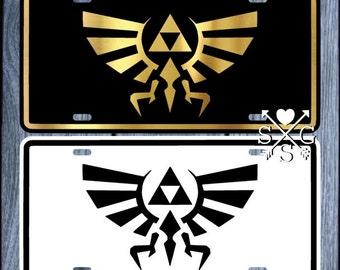 Legend of Zelda Triforce Hyrule Hylian Crest License Plate