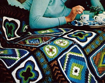 Granny Square Afghan, Crochet Pattern. PDF Instant Download.