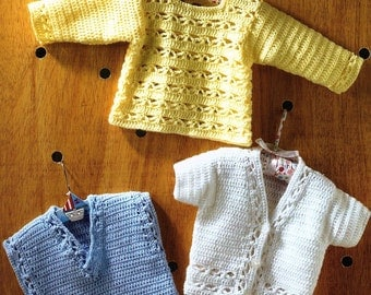 Baby Sweater, V Necked Slipover And Short Sleeved Cardigan, Crochet Pattern. PDF Instant Download.