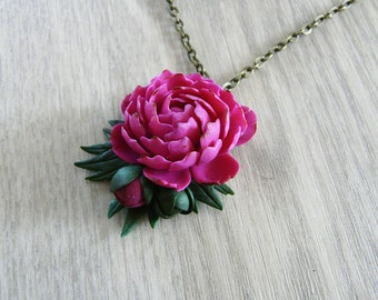 Peony necklace pendant handmade, polymer clay necklace, flower necklace, realistic flower necklace, pink flower, pink peony