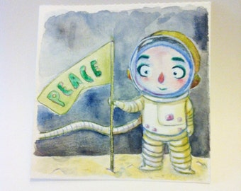 Small original watercolor - Illustration - painting - on the Moon