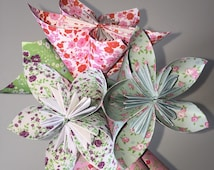 Origami pattern Liberty for decoration or bouquet, wedding shabby chic flowers