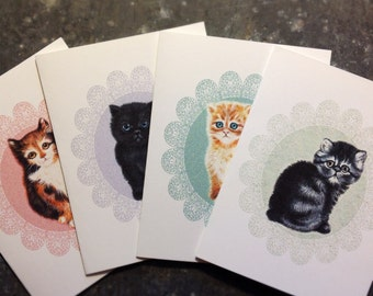 Set of 4 greeting cards fine art print vintage style kittens original by Alissa Carmi