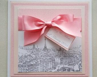 25 x paris wedding invitations luxury budget wedding glittery romantic sparkly personalised