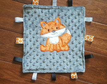 12 in Grey and orange minky dot teething blanket with applique fox. Great for baby shower, security blanket, personalized baby gift under 20