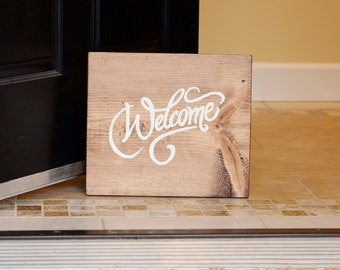 Square Welcome Sign - Rustic Cottage Chic - French Farmhouse - Cursive Writing - House Warming Gift - Wedding - Mothers Day