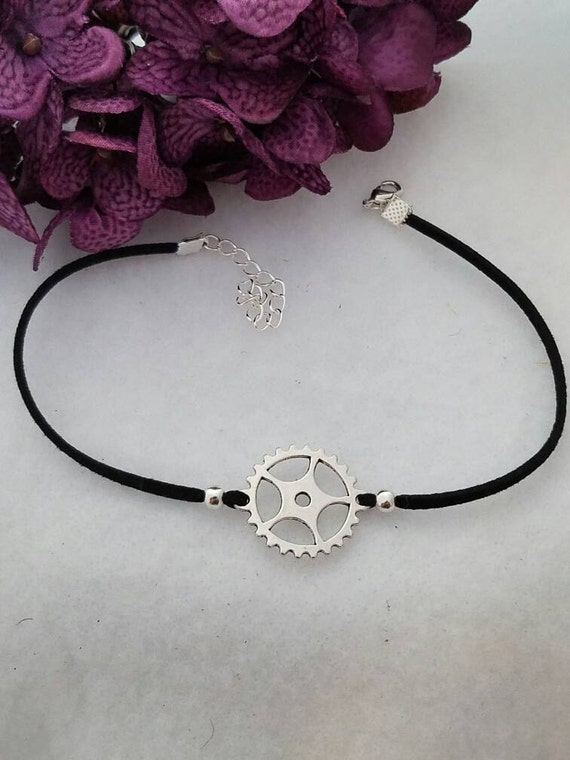 Bike Gear Choker, Steampunk Leather Choker, Black Leather Choker, Gear Jewelry, Gear Charm, Bicycle Charm, Silver Charm, Steam punk Choker