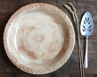 Handmade Pie Dish ~ Pie Plate ~ Pot Pie or Quiche ~ Rustic Speckled Brown ~ Farmhouse Kitchen ~ Durable Stoneware ~ Made to Order