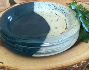 Handmade Small Plates ~ Set of 3 ~ Blue with Cream ~ Sandwich, Appetizer, Dessert & Snack