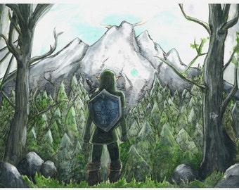 Zelda Landscape Death Mountain Original Watercolor 14x17