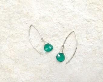 Green Obsidian Hook Earrings, 925 Sterling Silver