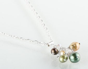 Green Pearl Cluster Necklace
