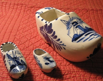 Ceramic Dutch Shoes from Holland, set of 3 Ceramic Shoes, Authentic Holland Shoes