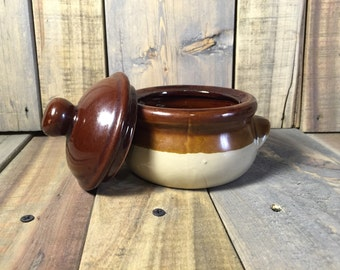 Brown and Tan Bean Pot