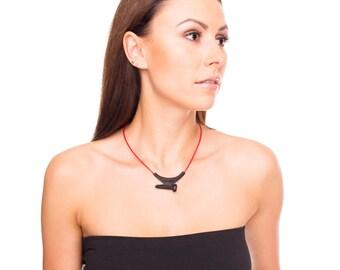 Leather bound screw necklace