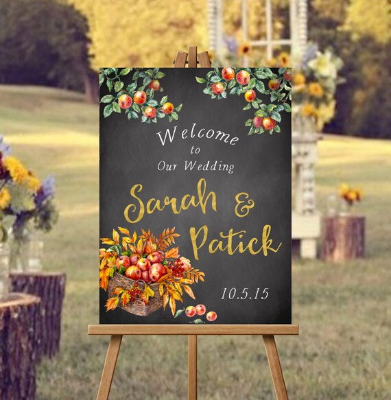 Autumn Welcome Wedding Sign-PRINTABLE, Fall Wedding, Hashtag Sign, Chalkboard sign, Fall wedding sign
