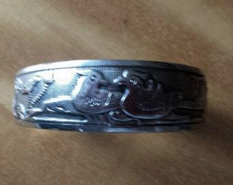 Asian Waterfowl Plate Metal Cuff Bracelet
