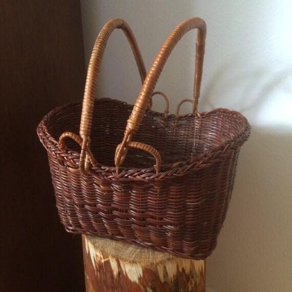 Dark Wicker Baskets With Handles : Vintage wicker basket moveable handles dark colour hand