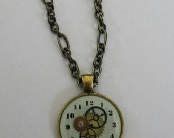 Resin clock steampunk necklace
