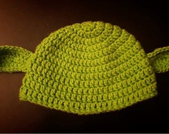 Yoda Hat - Crochet Hat - Multiple Sizes - Made to Order