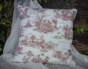toile de jouy cushion~french style cushion,toile de jouy,cushion,linen cushion~french vintage style~french vintage cushion~toile de jouy
