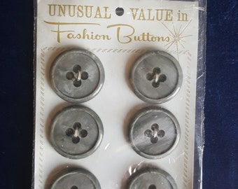 6 large vintage carded buttons grey with four holes